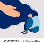 human hand helps a sad lonely... | Shutterstock .eps vector #1481722832