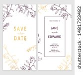 floral vector card with golden... | Shutterstock .eps vector #1481733482