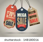 vintage style sale tags design | Shutterstock .eps vector #148180016