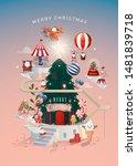 christmas santa's workshop city ... | Shutterstock .eps vector #1481839718