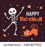 happy halloween with funny...   Shutterstock .eps vector #1481847902