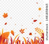 autumn grass border with... | Shutterstock .eps vector #1481858465