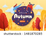 hello autumn vector... | Shutterstock .eps vector #1481870285