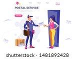 parcel mail transportation ... | Shutterstock .eps vector #1481892428