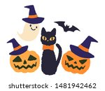 halloween cat haunted pumpkin... | Shutterstock .eps vector #1481942462
