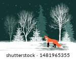 Winter Forest. Silhouettes Of...
