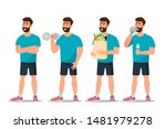 set of man exercise in the gym... | Shutterstock .eps vector #1481979278