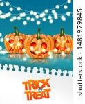 halloween trick or treat poster ... | Shutterstock .eps vector #1481979845