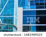 Small photo of IBM sign and logo on glass facade of IBM Watson modern office building in SOMA - San Francisco, California, USA - Circa, 2019