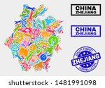 Vector collage of tools Zhejiang Province map and blue seal stamp for quality product. Zhejiang Province map collage designed with tools, spanners, production symbols.
