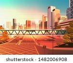 footbridge over highway asphalt ... | Shutterstock .eps vector #1482006908