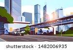 highway road to city skyline... | Shutterstock .eps vector #1482006935
