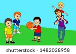 three boys playing ball and one ... | Shutterstock .eps vector #1482028958