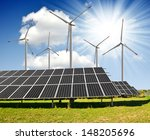 solar energy panels and wind... | Shutterstock . vector #148205696