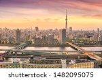 view of tokyo skyline at sunset ... | Shutterstock . vector #1482095075