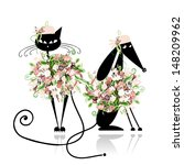 Stock vector glamor cat and dog in floral clothes for your design 148209962