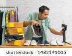 asian man using smart mobile... | Shutterstock . vector #1482141005