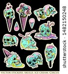 set of stickers  pins. skull ... | Shutterstock .eps vector #1482150248