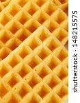 macro shot of belgian waffle  | Shutterstock . vector #148215575
