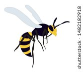 isolated  wasp  bee  on a... | Shutterstock .eps vector #1482182918