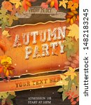 autumn party flyer with a... | Shutterstock .eps vector #1482183245