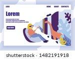 virtual paleontological museum. ... | Shutterstock .eps vector #1482191918