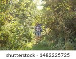Stock photo adventures summer tourism and nature concept tourist arriving to a camping with his cat 1482225725