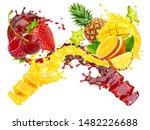 fresh ripe orange  pineapple ... | Shutterstock . vector #1482226688