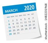 march 2020 calendar leaf  ... | Shutterstock .eps vector #1482231968