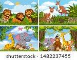set of various animals in... | Shutterstock .eps vector #1482237455
