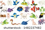 set of fish and wild animals...   Shutterstock .eps vector #1482237482
