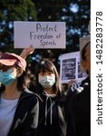 Small photo of Sydney, NSW / Australia - August 18, 2019: Supporters of the Hong Kong protest movement gather in Sydney's Belmore Park to condemn police violence in Hong Kong and issue five demands.