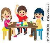 three happy friends kids... | Shutterstock . vector #1482286178