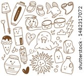 kawaii doodle collection line... | Shutterstock .eps vector #1482317072