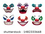 Creepy Clown Faces. Isolated O...