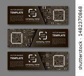 Stock vector banner microcircuit modern template processor design vector abstract design web banner 1482370868