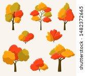 Set Of Autumn Cartoon Trees And ...
