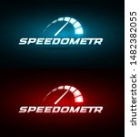 speedometer icon. blue and red... | Shutterstock .eps vector #1482382055