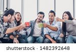 Stock photo creative designer take coffee break and toasting coffee cup at office cafeteria multiethnics 1482392648