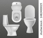 realistic toilet bowl. white... | Shutterstock .eps vector #1482400025