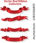 red ribbon collection vector...   Shutterstock .eps vector #1482406805