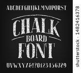 chalk board alphabet font.... | Shutterstock .eps vector #1482416378