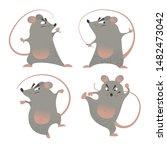kung fu mice set. cartoon...   Shutterstock .eps vector #1482473042