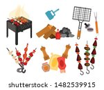 barbecue grill cartoon elements ... | Shutterstock .eps vector #1482539915
