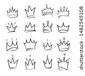 hand drawn crowns logo set for... | Shutterstock .eps vector #1482545108