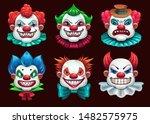 Creepy Clown Faces Set. Scary...