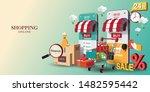 shopping online on website or... | Shutterstock .eps vector #1482595442