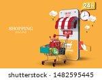 shopping online on website or... | Shutterstock .eps vector #1482595445