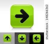 arrow icon set. green glossy...