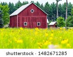 Pretty Red Wooden Barn With...